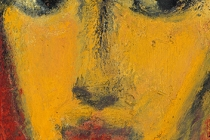 """Woman with Red Background, 12"""" x 4"""""""